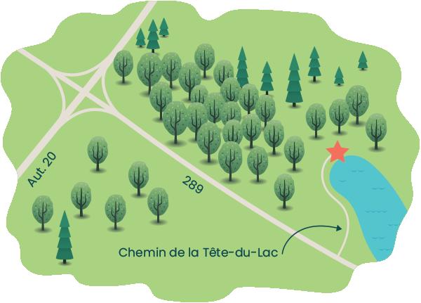 Itinéraire pour se rendre à la tête du lac Pohénégamook